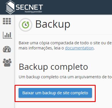 Como fazer Backup no cPanel - Passo 2