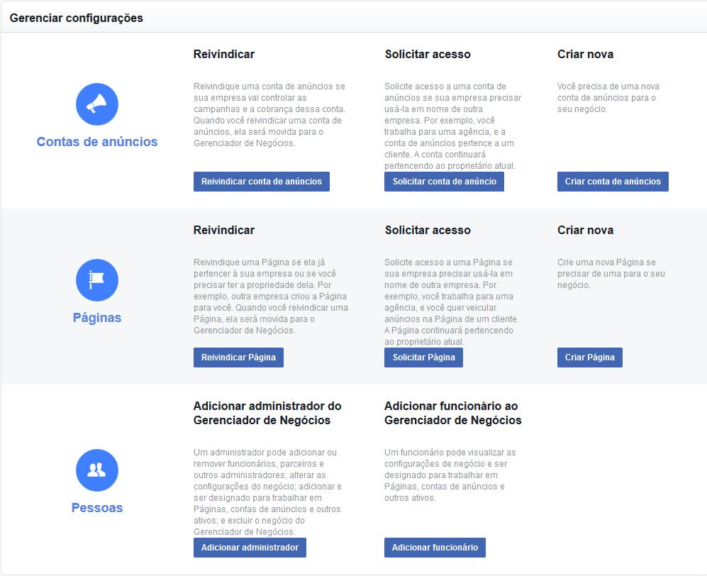 Como criar anúncios no Facebook - Mensagem Gerenciador de negócios