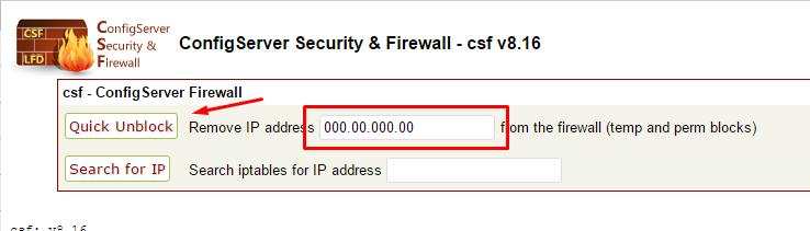 Desbloquear IP no Firewall do WHM - Passo 2