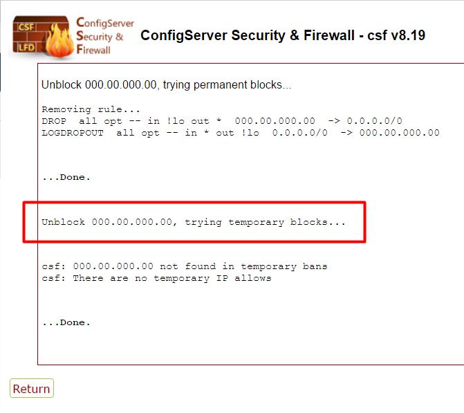 Desbloquear IP no Firewall do WHM - Passo 3