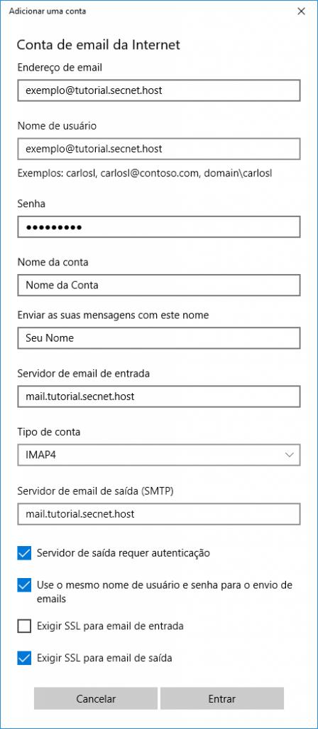 Como configurar e-mail no Windows 10 - Passo 4