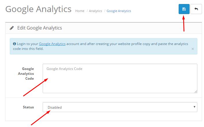 Google Analytics no OpenCart: Como configurar - passo 7