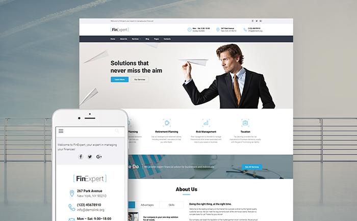 FinExpert - Financial Advisory Company Responsive WordPress Theme - SECNET
