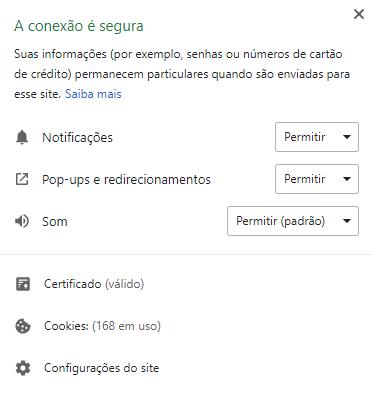 PopUp Google Chrome 56 informando: A conexão é segura