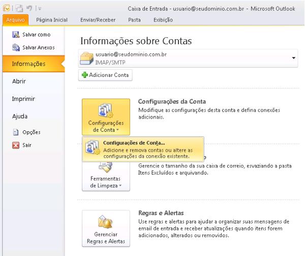 Como remover uma sincronização de conta do Outlook 2010 - passo 1