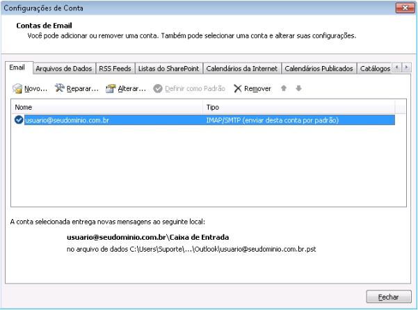 Como remover uma sincronização de conta do Outlook 2010 - passo 2
