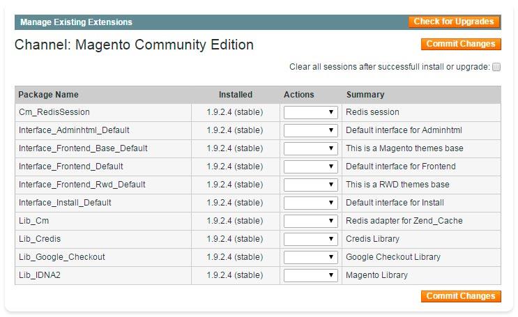 Magento Connect Manager - Gerenciar extensõs instaladas - Secnet
