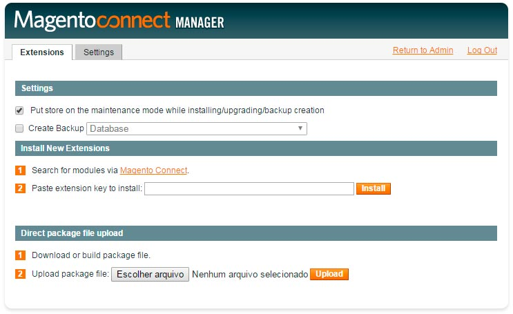 Magento Connect Manager - Gerenciador Magento Connect - Secnet