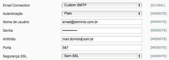 Configurações SMTP Pro Email