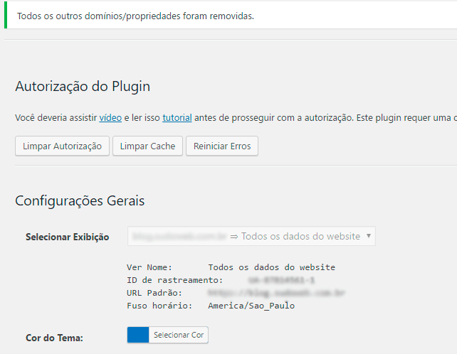 Google Analytics no WordPress - Décimo passo