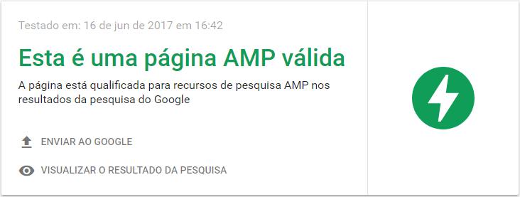 Teste AMP - Ferramenta Google